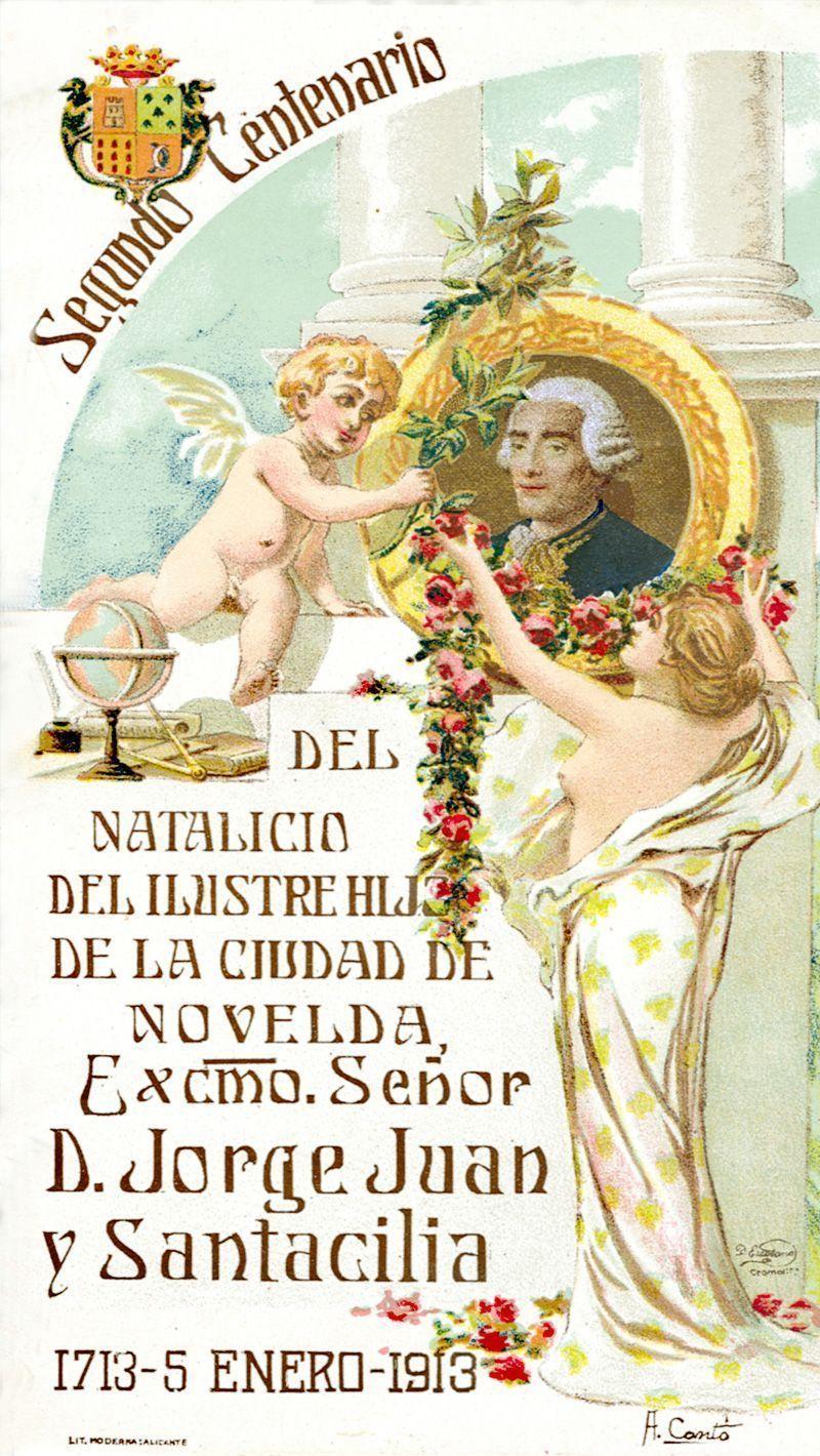 Cartel II Centenario del nacimiento de Jorge Juan ( 1913 )