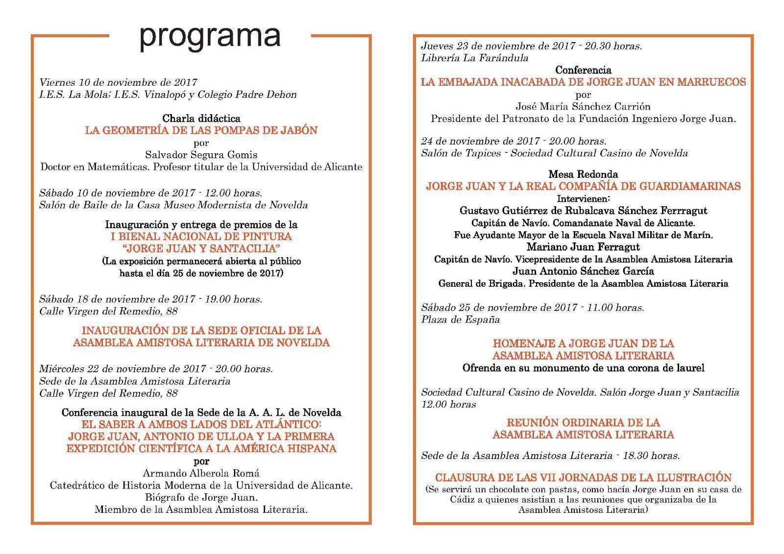 Programa de las VII Jornadas de la Ilustración