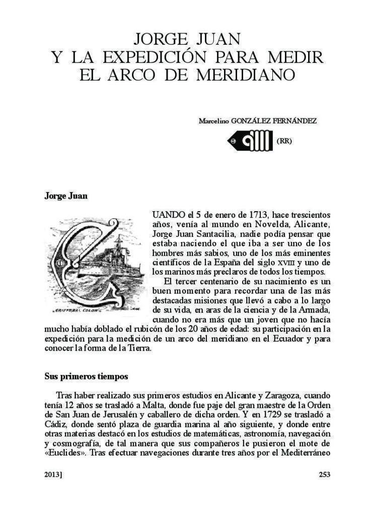 Jorge Juan y la medición del meridiano. Marcelino González. Revista de Marina.
