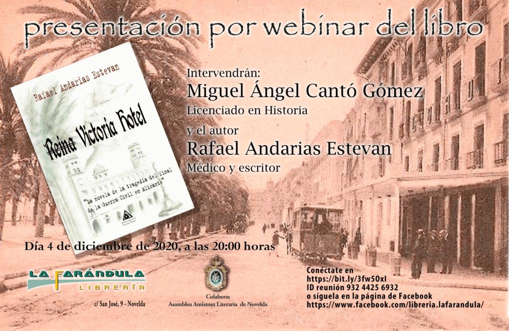 Nuestro compañero Miguel Ángel Cantó presentará la novela de Rafael Andarias, Reina Victoria Hotel