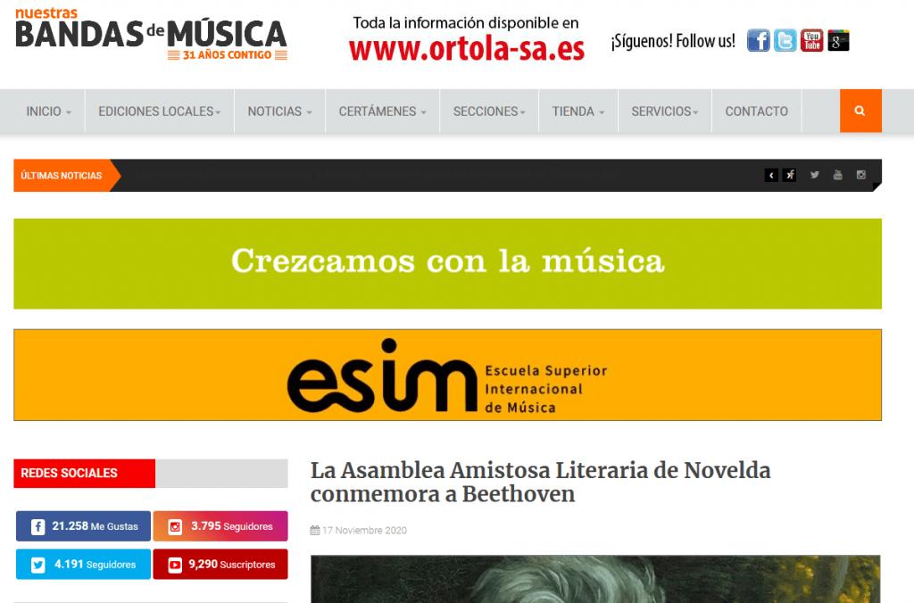 """La revista digital del programa radiofónico """"Nuestras bandas de música"""" se hace eco de la conferencia de Beethoven"""